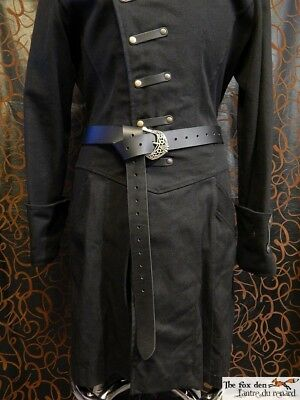 Medieval long belt with celtic buckle. Very high quality 9oz leather belt. LARP