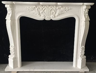 """French Fireplace Mantle HAND CARVED White Marble Mantel 59"""" WIDE"""