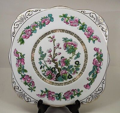 "Square 9"" Cake or Sandwich Plate Royal Grafton Indian Tree Pattern Near Mint EUC"