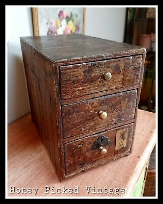 SMALL SET OF ANTIQUE specimen DRAWERS chinese apothecary haberdashery miniature