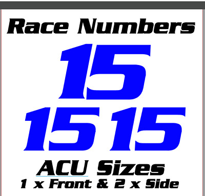 Custom Race Numbers ACU Sizes Bike Stickers Decals Pair Logo Clipart Vinyl Font