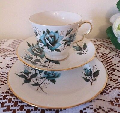 ROYAL VALE CHINA TRIO Turquoise Roses Green Leaves CUP SAUCER PLATE Tea Set