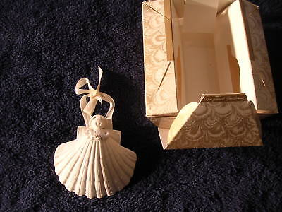 """1983 Margaret Furlong Holly 4"""" Shell Angel Bisque Christmas Tree Ornament"""