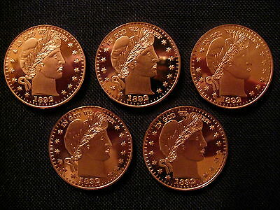 5 Coins 1 Ounce .999 Copper Round 1892 Barber