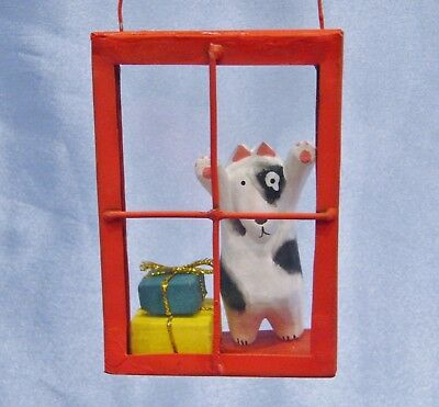 Wooden Dog in a Glass Window Christmas Ornament New