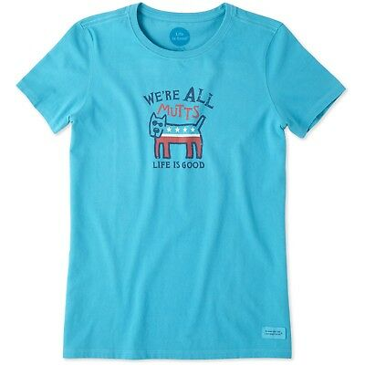 Life is Good. Women's Crusher Tee: All Mutts Cool Turquoise