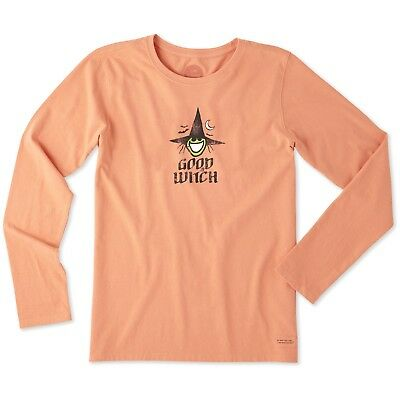 Life is Good. Women's Long Sleeve Crusher Tee: Good Witch Fresh Coral