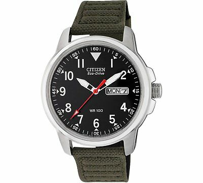Citizen Men's Eco-Drive Canvas Strap Watch Green Fabric Strap