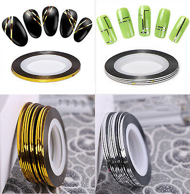 Roll Metallic Gold & Silver Stripe Striping Tape Nail Art Decoration, UK Seller