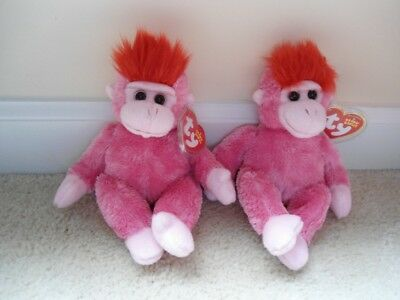 Ty,Charmer,Whimsical Valentine Themed Pink Gorilla Beanie Babies, Set of 2.MINT!