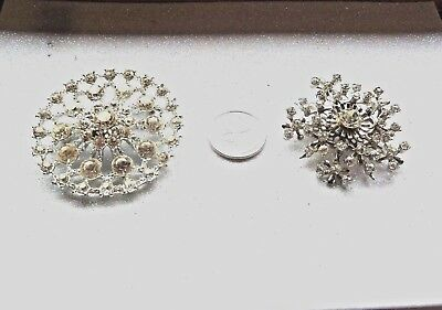 Clear Rhinestone Vintage Brooches