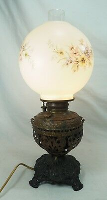 Antique Oil Converted To Electric Brass Table Lamp with Floral Shade