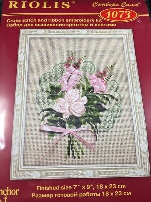 Dog Rose Flower Pink Counted Cross Stitch Kit Riolis R641