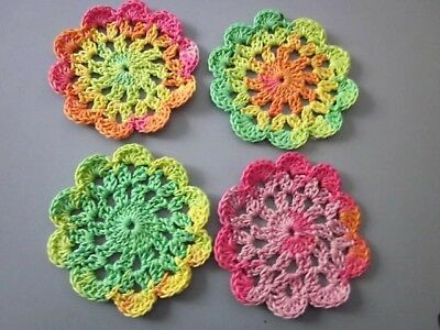 4 x Multicoloured Handmade Cotton Crochet doilies 11cms millinery/crafts (d)