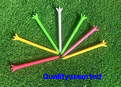 100 X TOP PRO QULITY LARGE 83mm PLASTIC 5 PRONG GOLF TEE Mixed Colours