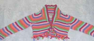 Infant Baby Girl's Multicolored Cotton Cardigan Sweater Hand Crocheted New
