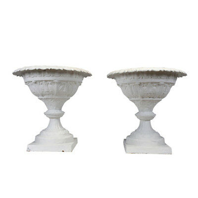 Set of Two Grand Garden Planters Cast Iron Painted Off- White w/ Floral Motifs