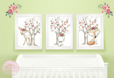 Set of 3 Woodland Fox Bunny Nursery Print Wall Art Baby Girl Birth Flower Trees