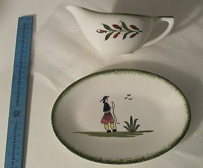 vintage Knowles gravy sauce boat with underplate Normandy dish pattern dining