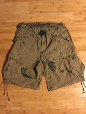 Rare Vintage Pair Of Polo RALPH LAUREN Mens African Printed Cargo Shorts Sz 33