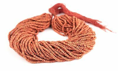 Coral Color Stone Saucer Beads 4mm Afghanistan Red 16 Inch Strand