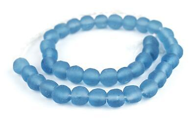 Light Blue Round Java Recycled Glass Beads 11mm Indonesia Sea Glass Large Hole