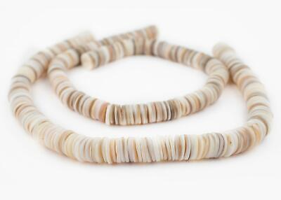 White Ocean Sea Shell Heishi Beads 12mm 14 Inch Strand
