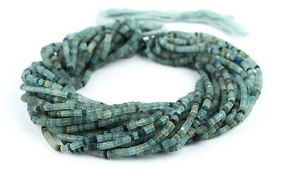 Ancient Roman Glass Cylinder Heishi Beads 4mm Afghanistan Green 15 Inch Strand
