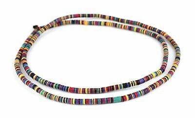 Whimsical Medley Phono Record Vinyl Beads 4mm Ghana African Multicolor Disk