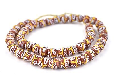 Fancy Red Millefiore-Style Krobo Beads 12mm Ghana African Round Glass Large Hole
