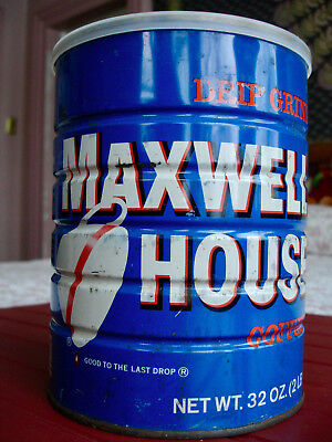 Vintage Two Pound Maxwell House Can and Lid