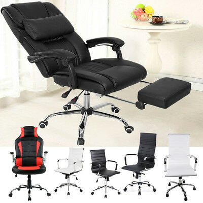 Reclining Office Computer Executive Chair Swivel PU Leather Footrest Headrest UK