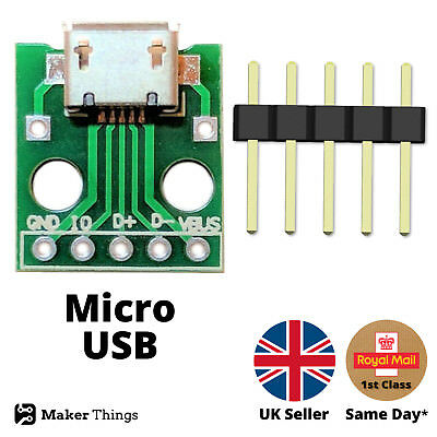 Micro USB type-B 5 pin female connector to DIP 2.54mm breadboard breakout board