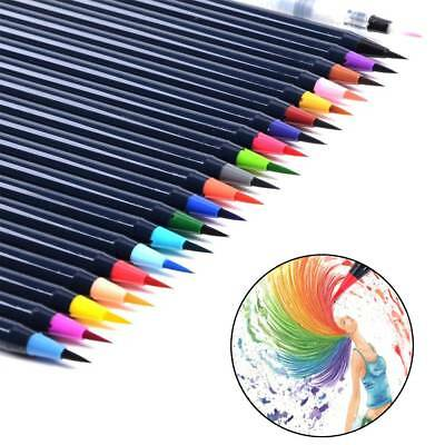 20 Colors Watercolor Pen Set Art Drawing Painting Brush Sketch Manga Pen