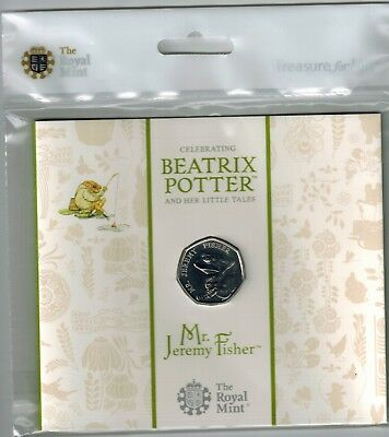 MR JEREMY FISHER FROG B POTTER 2017 UK 50p COIN BRILLIANT UNCIRCULATED UNOPENED!