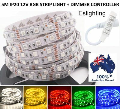 5M Flexible Ip20 5050 Rgb Dimmable Led Strip Lights 12V Dc Dimmer Controller