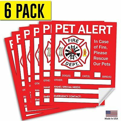 6 Pack 5x4 Pet Alert Safety Fire Rescue Sticker -Save Our Pets Emergency  Decal