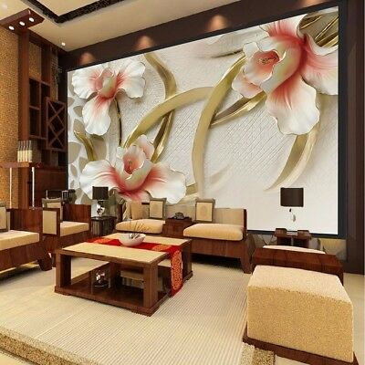 3D Wall Sticker Bedroom Mural Roll Modern Lily Flower Large Wall Background Home