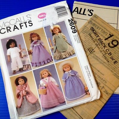 "18"" Dolls Period Dress Patterns -McCalls Crafts 2609 - New Factory Folded Uncut."