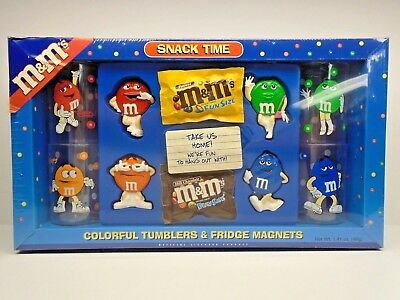 M&M's SNACK TIME Colorful Tumblers & Fridge Magnets ~ Galerie 2002 ~ Sealed~NIB