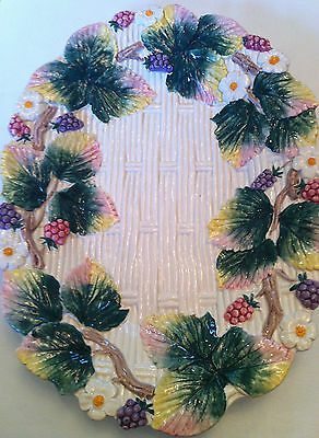Vintage 1990 FF Fitz & Floyd Small, Oval Basketweave Berry Serving Plate Platter