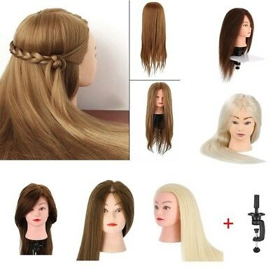 22''/24'' 100% Real Human Hair Train Head Mannequin Makeup+Clamp Hairdressing
