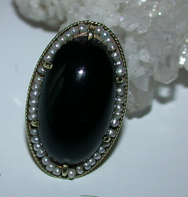 Antique  Ring - Large Oval Black Onyx With Natural Seed Pearls - 14K Yellow Gold