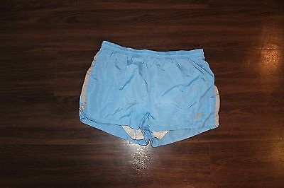 Vintage 80s Nike Nylon Jogging Running Lined Shorts Blue Swoosh Logo RARE Medium