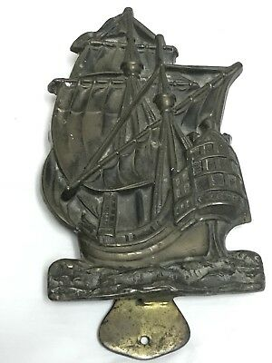 Antique English Heavy Solid Brass Ship Galleon Door Knocker