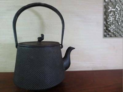 Japanese Antique KANJI old Iron Tea Kettle Tetsubin teapot Chagama 2301