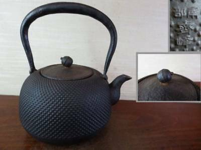 Japanese Antique KANJI old Iron Tea Kettle Tetsubin teapot Chagama 2300