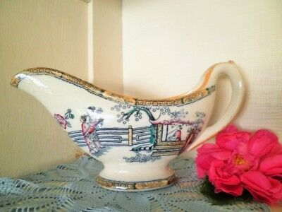 Antique Gravy Boat Jug Lrg Gildea & Walker C1881-85 Chinoiserie Chinese Pagoda