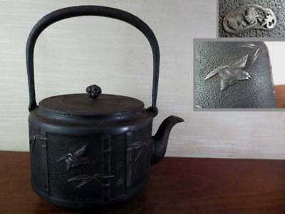Japanese Antique KANJI old Iron Tea Kettle Tetsubin teapot Chagama 2303
