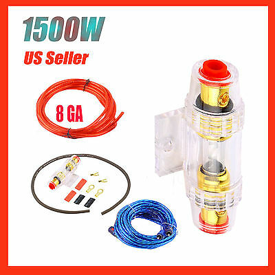 1500W 8GA Car Audio Subwoofer Amplifier AMP Wiring Fuse Holder Wire Cable Kit QZ